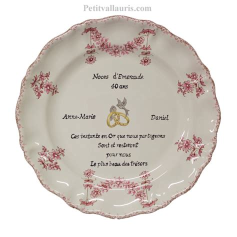 anniversaire de mariage 40 ans poeme assiette d 233 corative en faience pour souvenir et