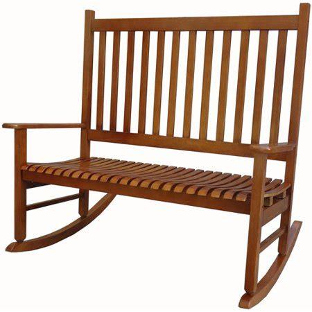 Loveseat Rocking Chair by Mainstays Outdoor Wood Loveseat Rocker Oak Walmart