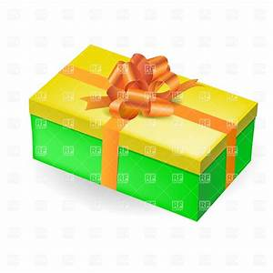 Rectangular green gift box with yellow top and orange bow ...
