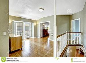 Upstairs Room With Walkout Deck In Empty House Stock Photo