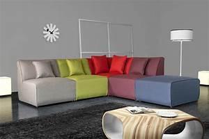 Les Plus Beaux Canapés : canap d 39 angle modulable contemporain en tissu multicolore oracio matelpro ~ Melissatoandfro.com Idées de Décoration