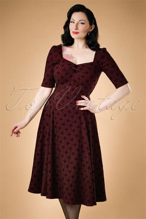 50s Dolores Brocade Doll Dress In Wine