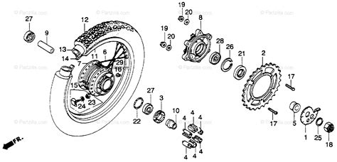 honda motorcycle 1983 oem parts diagram for rear wheel partzilla