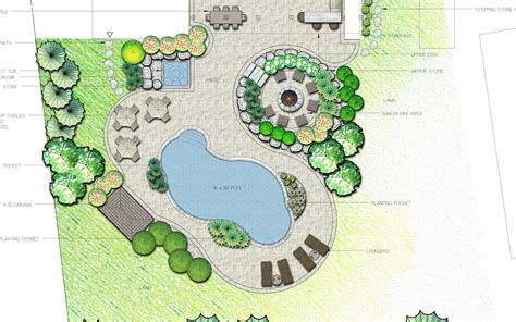 Curvilinear Architecture With Landscaped Gardens by Curvilinear Backyard Landscape Plan With Sunken Pit