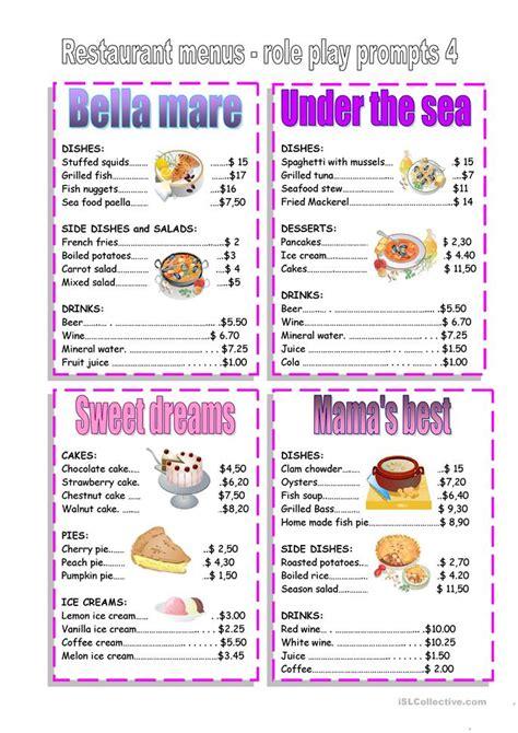 restaurant menu worksheet  esl printable worksheets