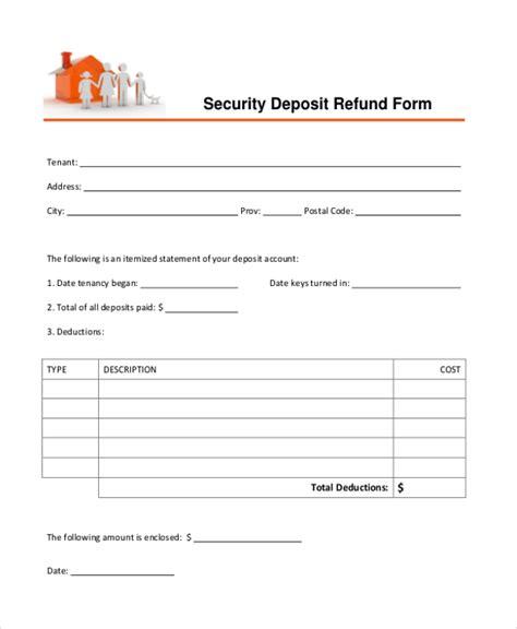 security deposit refund form sle security deposit refund form 8 free documents in pdf
