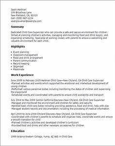 professional child care supervisor templates to showcase With child care resume examples