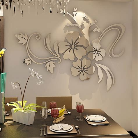 home decor wall stickers flower acrylic mirror wall sticker for living