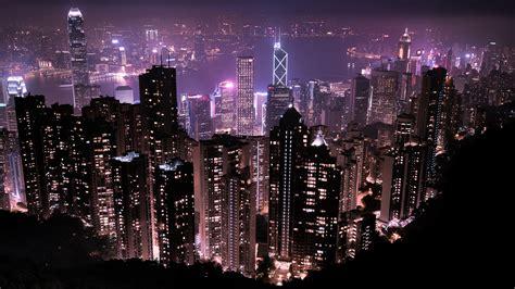 hong kong skyline  night wallpapers hd wallpapers id