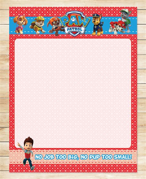 paw patrol stationery paper red paw  partyprintables