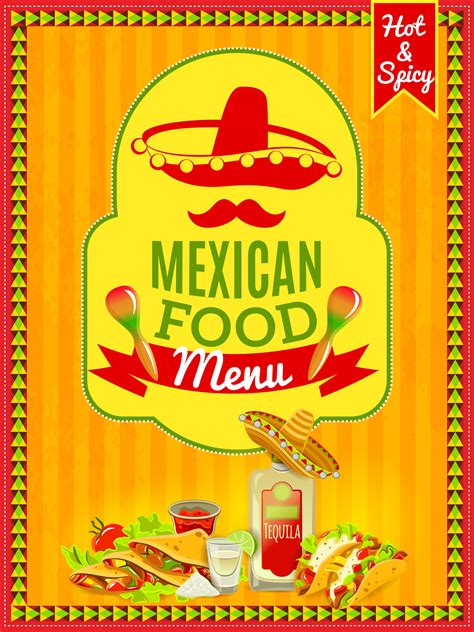 mexican food menu poster    vectors