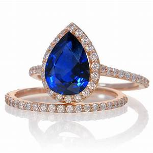 2 carat sapphire and diamond halo bridal ring set on 10k for Sapphire engagement ring and wedding band set