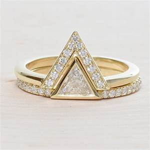 14k yellow gold triangle engagement ring set rondels jewelry With triangle wedding ring