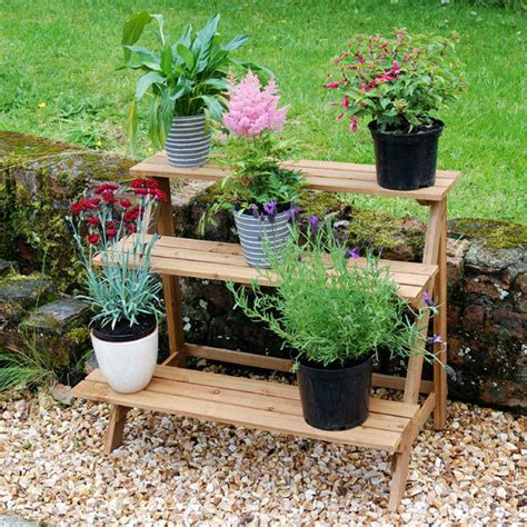 Plant Etagere Outdoor outdoor 3 tier etagere plant stand pot garden display