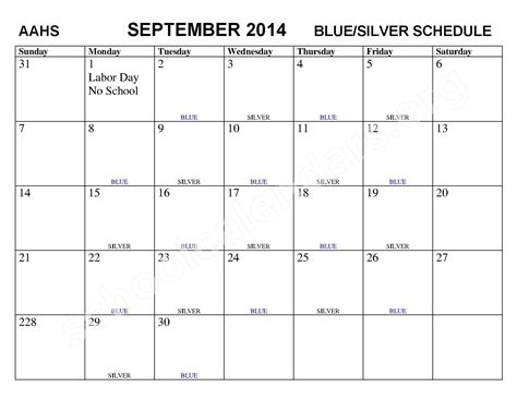 bluesilver schedule calendar academy school district