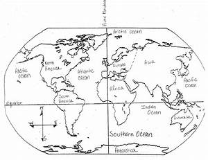 Blank Map Of The World To Label Continents And Oceans