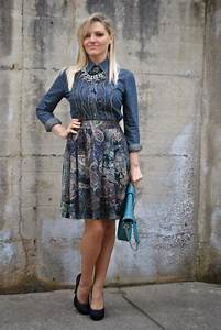 Outfit printed round skirt and denim shirt - Paperblog