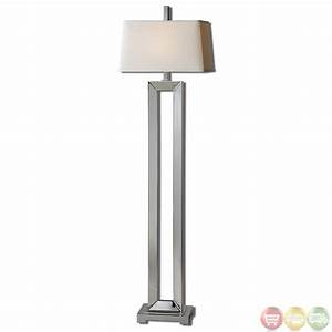 Coffield polished chrome metal column modern floor lamp 28595 for Floor lamp under 20