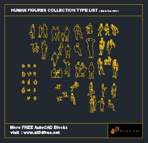 autocad blocks human figures collection