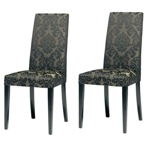 buy lucca pair of chairs black legs black damask from