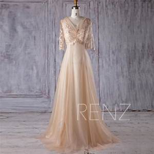 2017 beige tulle bridesmaid dress v neck lace wedding With beige lace wedding dress