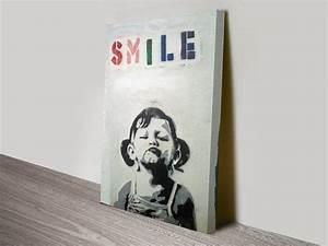 Banksy Stencil Banksy Smile |Small Girl Pouting Canvas Art