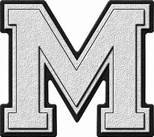 presentation alphabets white varsity letter m With white letter m
