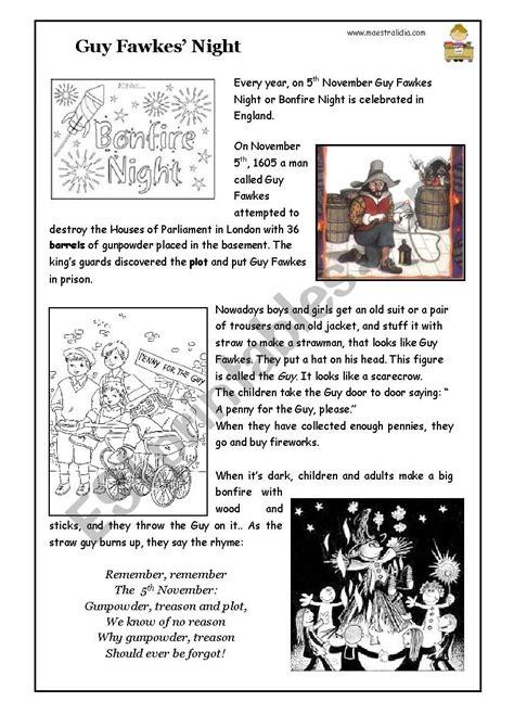 Guy Fawkes or Bonfire night - ESL worksheet by maestralidia