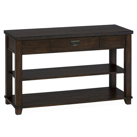 Traditional Brown Norcastle Sofa Table by Cassidy Brown Traditional Plank Top Sofa Table 561 4