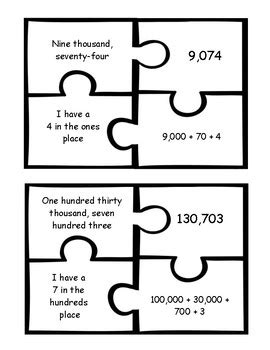 4th Grade Standard, Expanded & Word Form Puzzles with