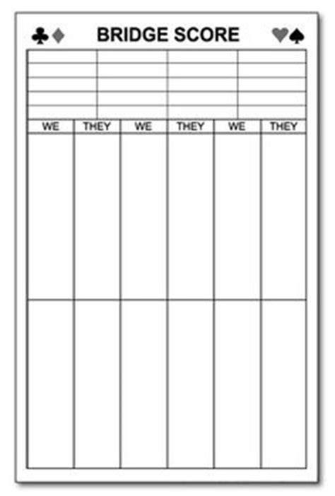 bridge score sheets printable    score pads