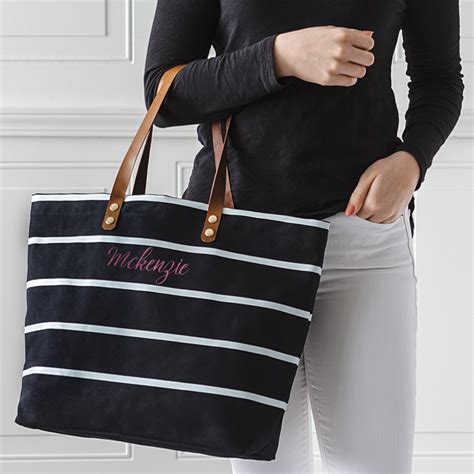 Cooler Bag Model Totte Kode 1 personalized black striped canvas tote w leather handles