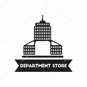 flat icon in black and white style building Department ...