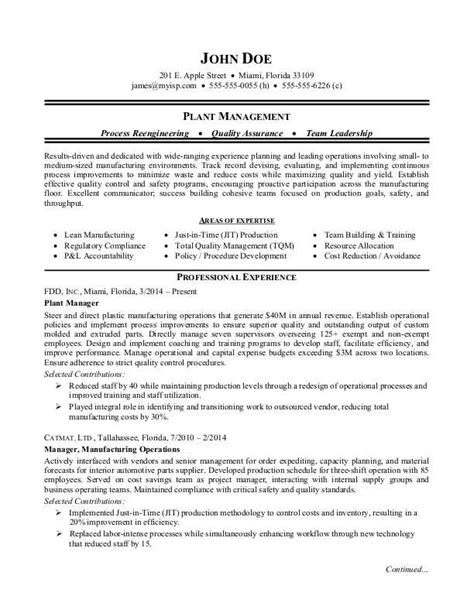 manufacturing plant manager resume sle