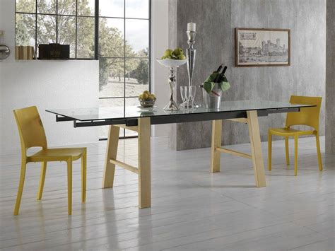 tavoli di cristallo sala da pranzo tavolo allungabile in vetro con gambe in legno
