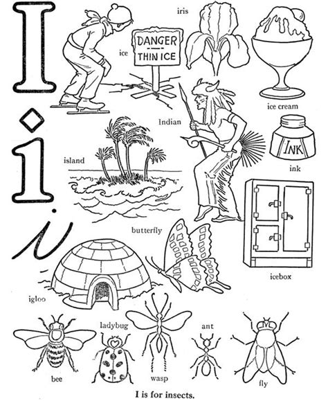 preschool learn letter i words coloring page best 456 | Preschool Kids Learn Letter I Words Coloring Page 600x734