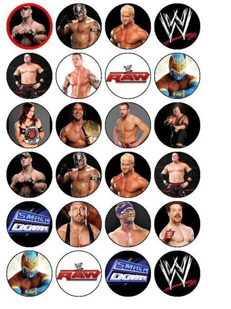 24 x wwe wrestlers wrestling smackdown edible wafer paper
