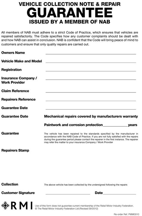 Personal Guarantee Template Uk by Pmm0010 Guarantee Form Pad Rmi Webshop