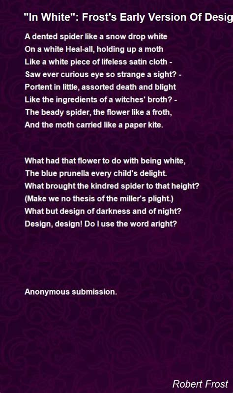 white frosts early version  design poem  robert