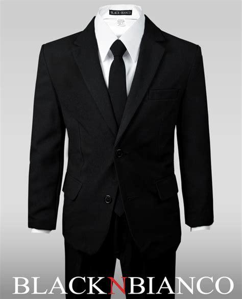 boys solid black notch lapel suit   skinny tie