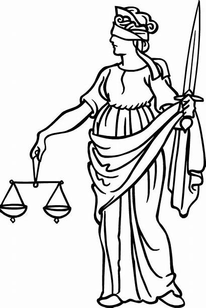 Justice Scales Drawing Lady Law Lawyer Laws
