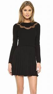 Red valentino Sweater Dress With Pleated Skirt in Black | Lyst