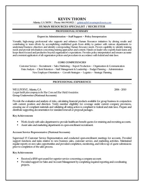 Employment Specialist Resume by Human Resources Specialist Resume