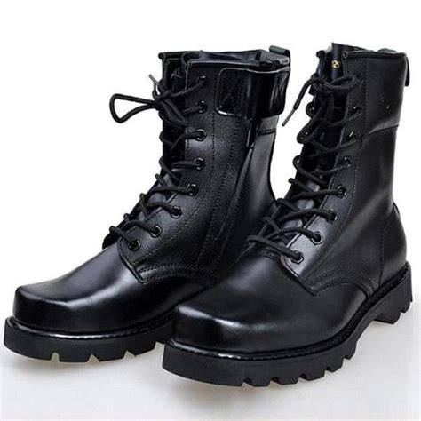 New Men Black Military Boots Combat Boot Lace
