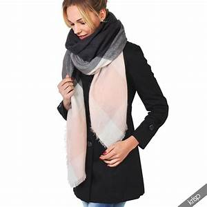 Echarpe Femme Laine : femme echarpe ch le carreaux patchwork tricot en laine douce oversize cape ebay ~ Nature-et-papiers.com Idées de Décoration
