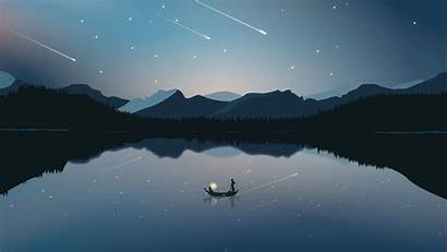 Boat Starfall Mountains 1080p Background Widescreen Hdtv