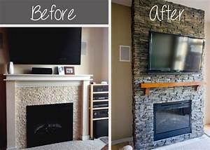 hirondelle rustique diy stacked stone fireplace first With stone veneer fireplace for renovation