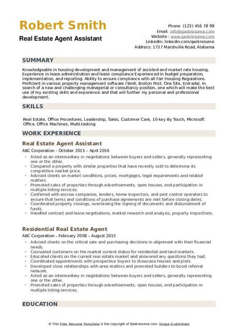 Real Estate Resume by Real Estate Resume Sles Qwikresume