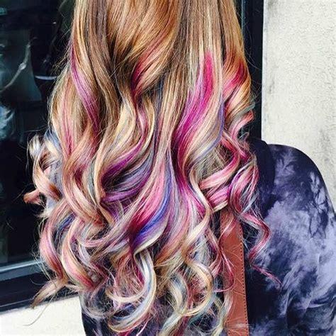 hair with colored highlights best 25 rainbow hair highlights ideas on