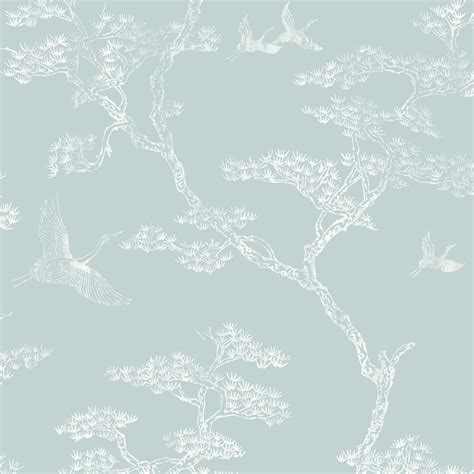 richmond duck egg white trees birds metallic wallpaper